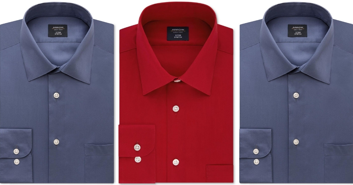Arrow Men's Fitted Non-Iron Performance Stretch Dress Shirt