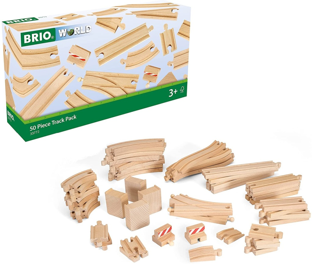 large wooden train track play set