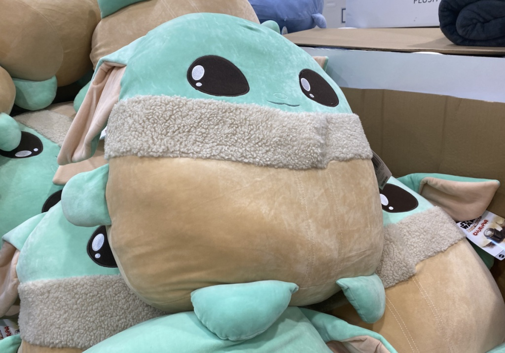 Baby Yoda plush on display in-store