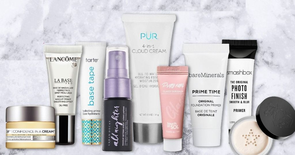row of beauty samples