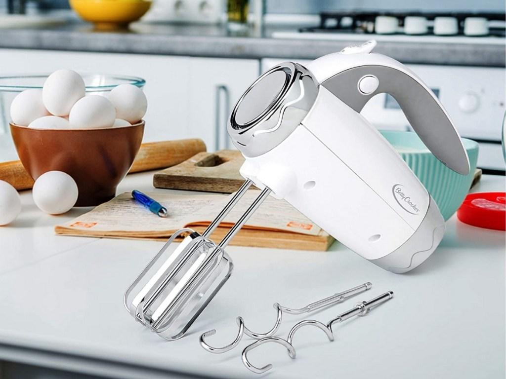 white better crocker hand mixer on countertop
