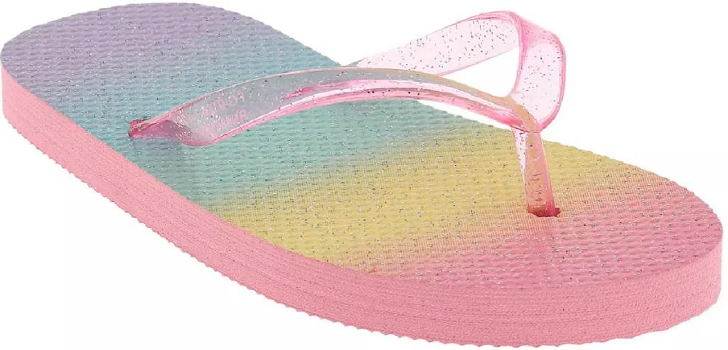 rainbow and glitter girls sparkle flip flops