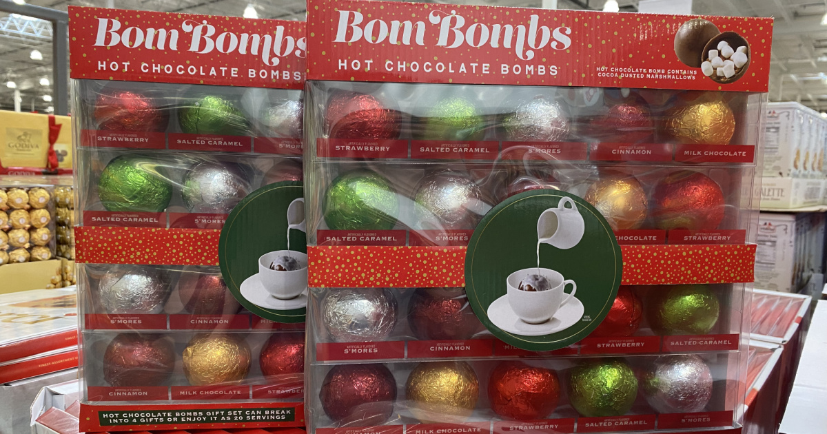 Holiday themed hot cocoa bombs at Costco on display