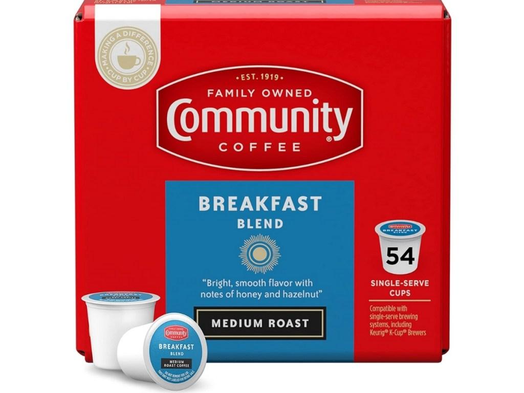 box of community coffee breakfast blend k cups