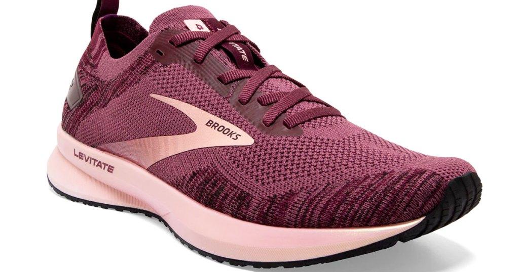 maroon and pink women's running shoe