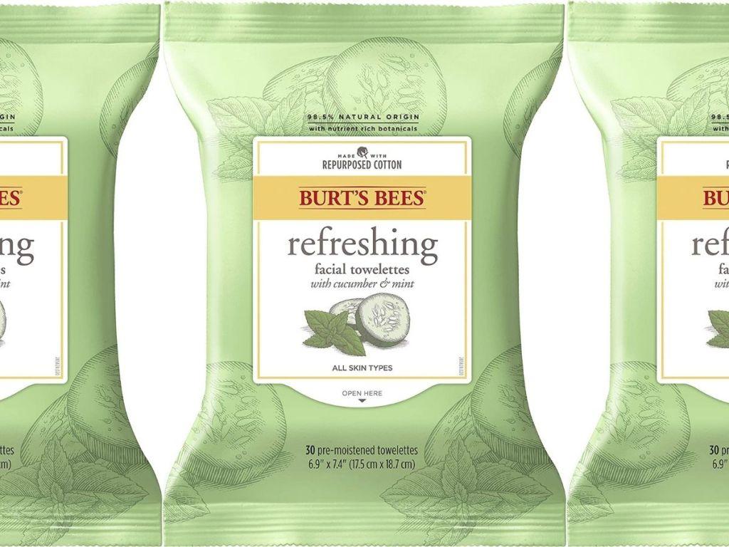 3 packs of Burt'sBees Towelettes