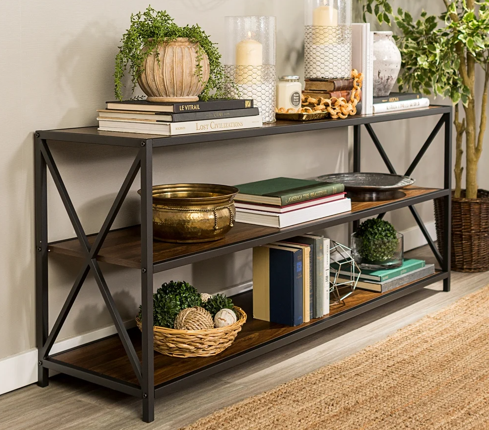 bookshelf with decor and books on it