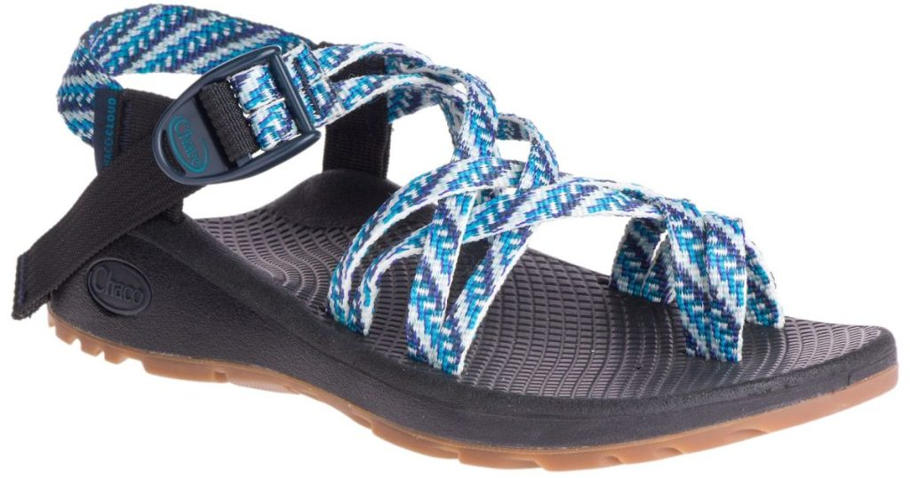 women's black and blue print sandal