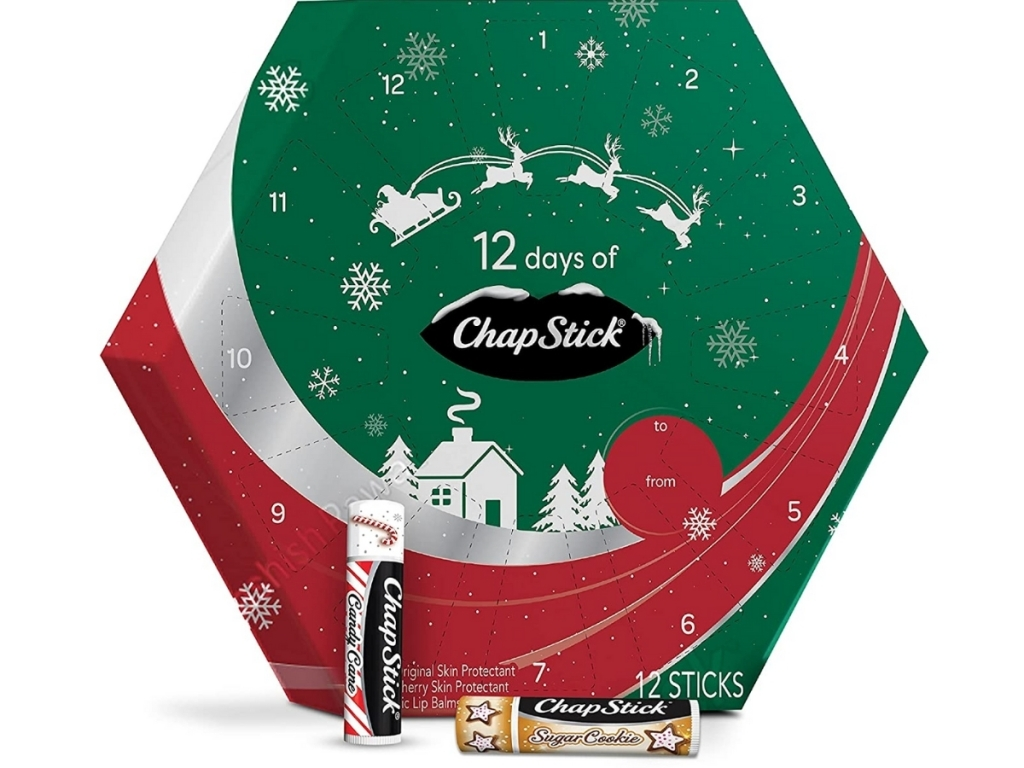 chapstick 12 day advent calendar with sticks next to box