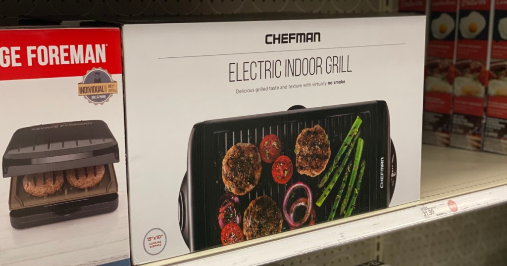 white box with black indoor grill