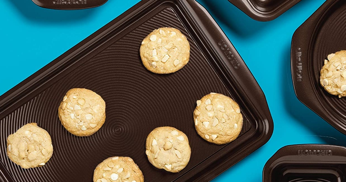 bakeware with cookies on them that have just been baked