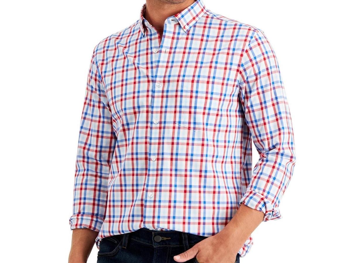 Club Room Men's Regular-Fit Poplin Shirt