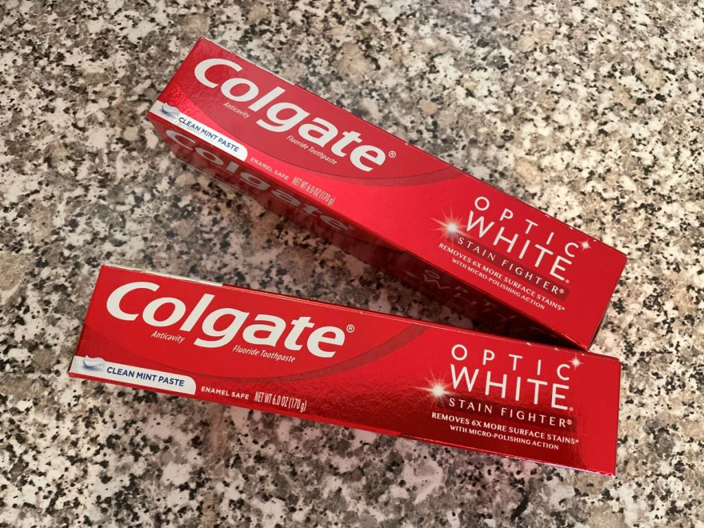 two tubes of Colgate toothpaste