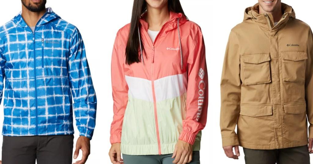 3 adults wearing columbia jackets