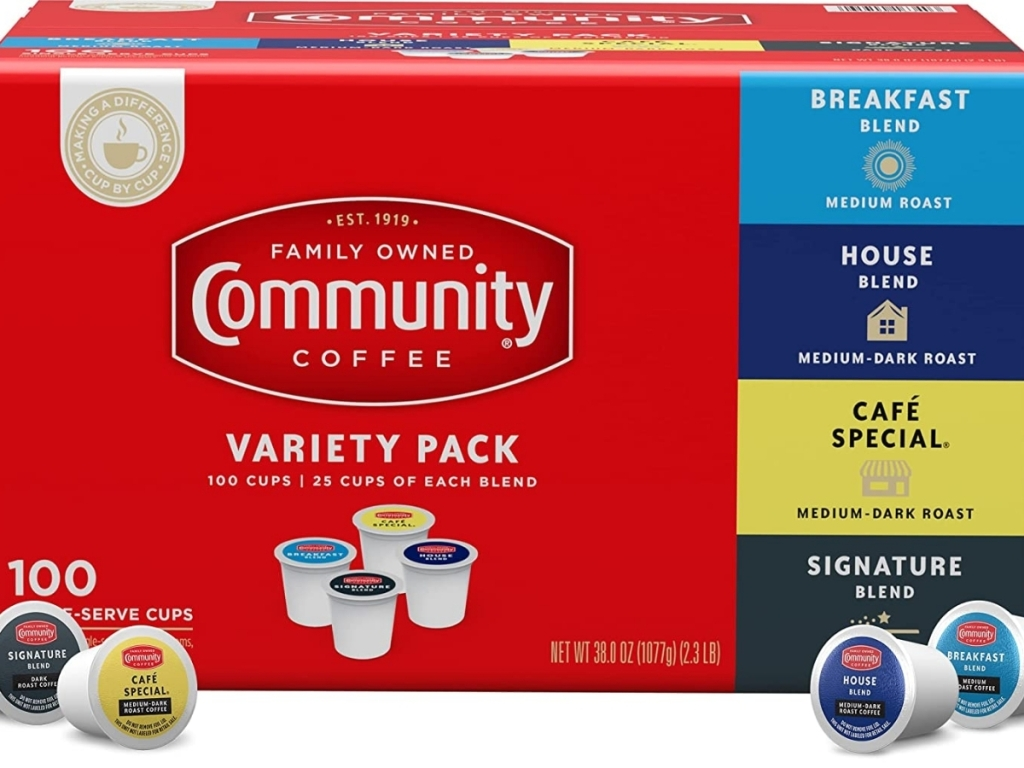 box of community coffee k cup variety pack