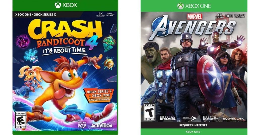 Crash Bandicoot and Avengers Xbox One Games