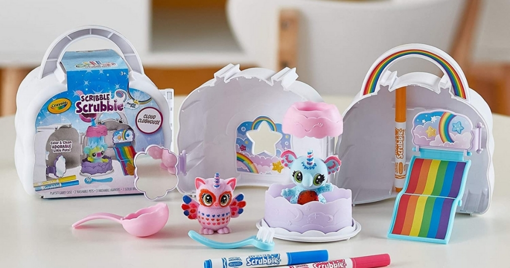crayola scribble scrubbie cloud playset with characters on table