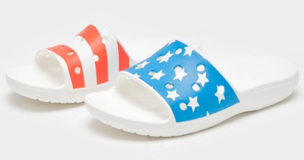 pair of Crocs flag sandals