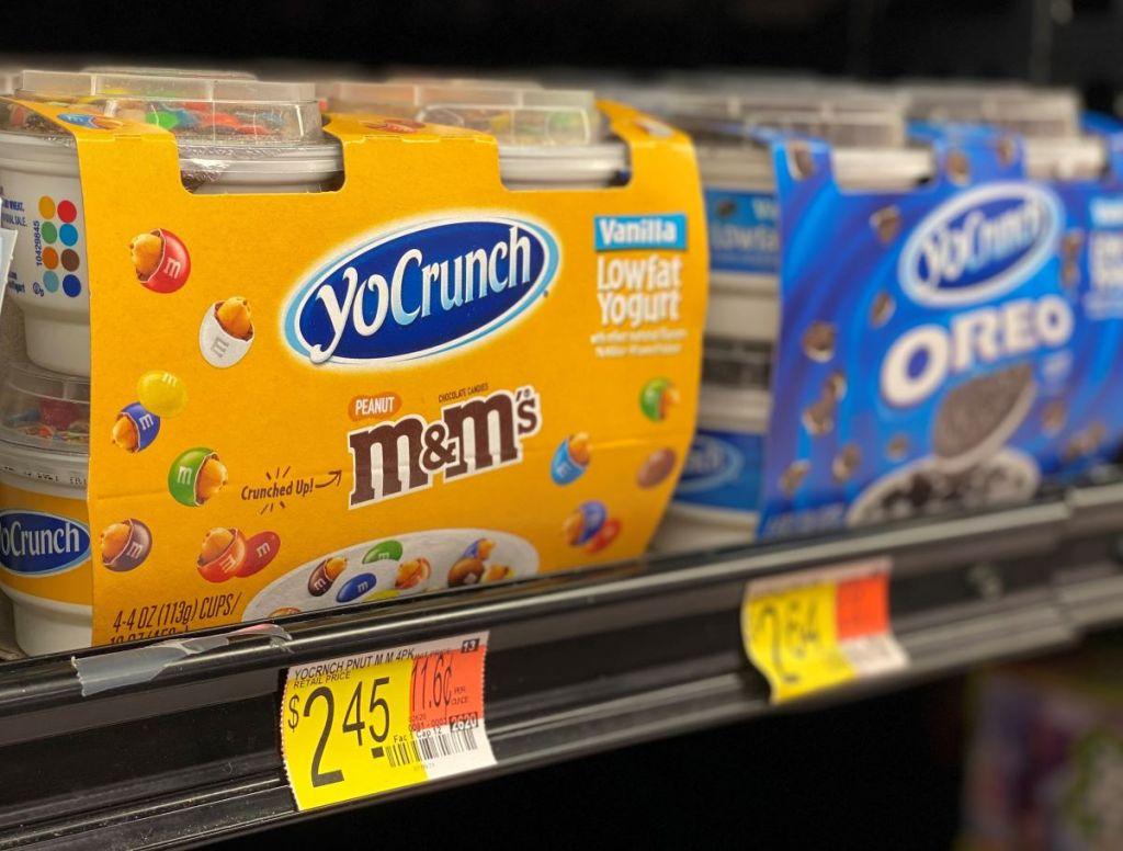 Dannon YoCrunch Yogurt on a shelf at Walmart