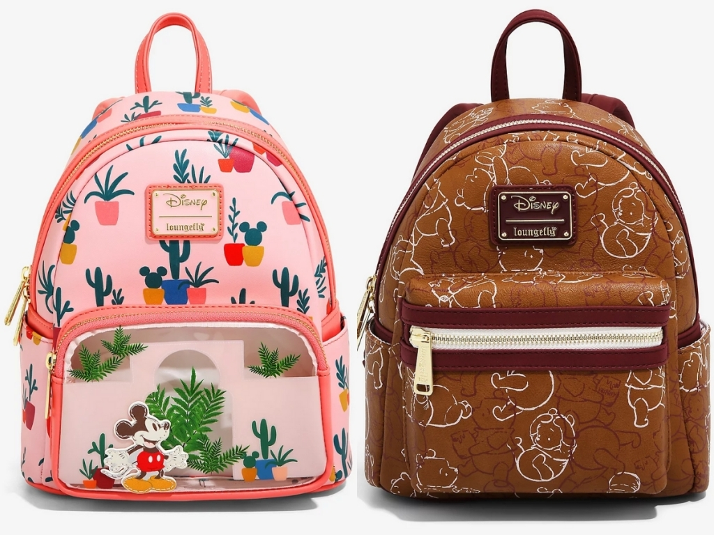 cactus and succulent mickey mouse mini backpack and brown winnie the pooh lined mini backpack