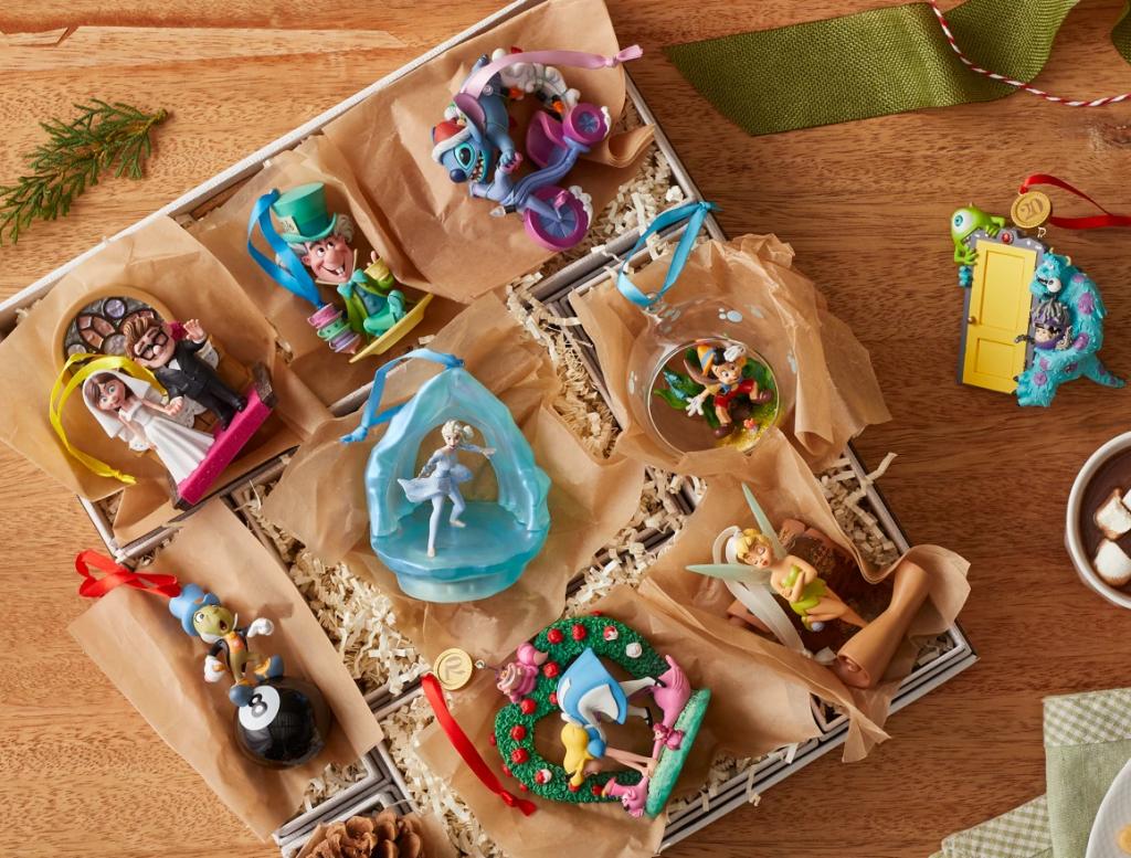 box full of Disney ornaments