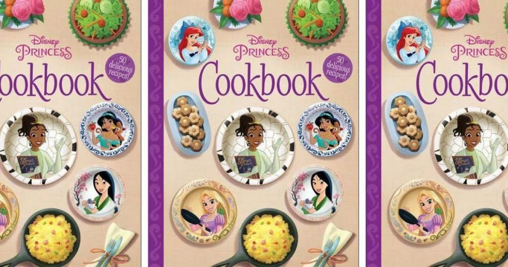 three images of the cover of the Disney Princess Cookbook