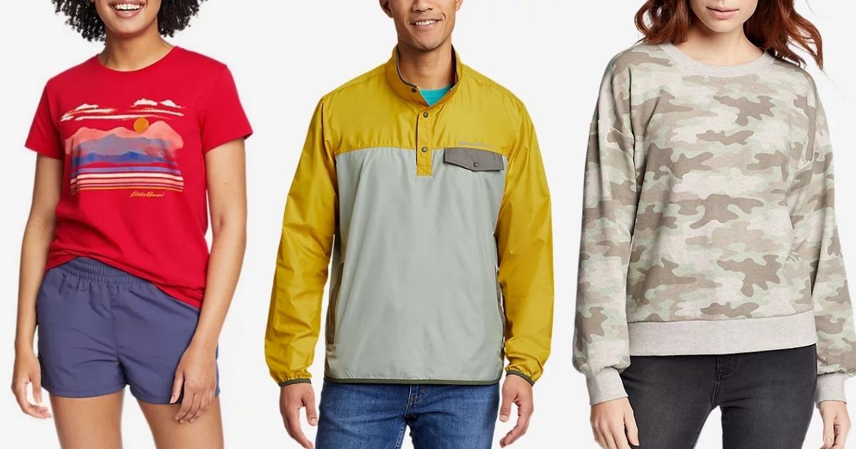 eddie bauer women's graphic t shirt, men's jacket, and women's sweatshirt