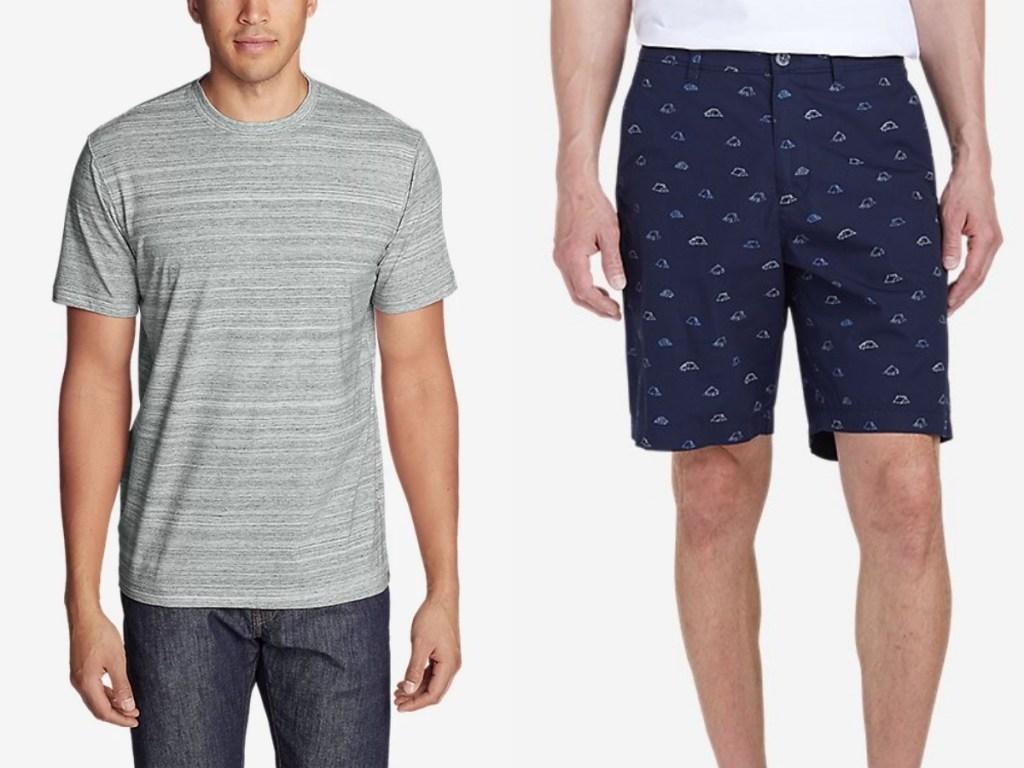 eddie bauer gray men's top and navy shorts