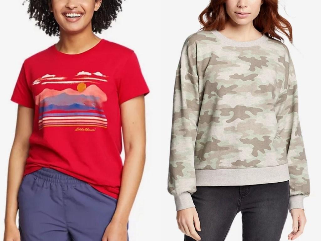 eddie bauer women's mountain graphic tee and camo sweatshirt
