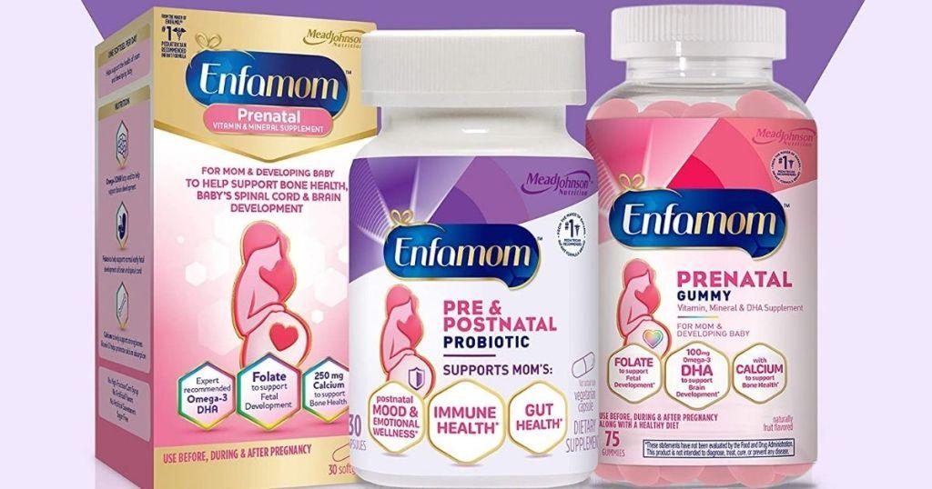group of Enfamom Enfamil vitamins