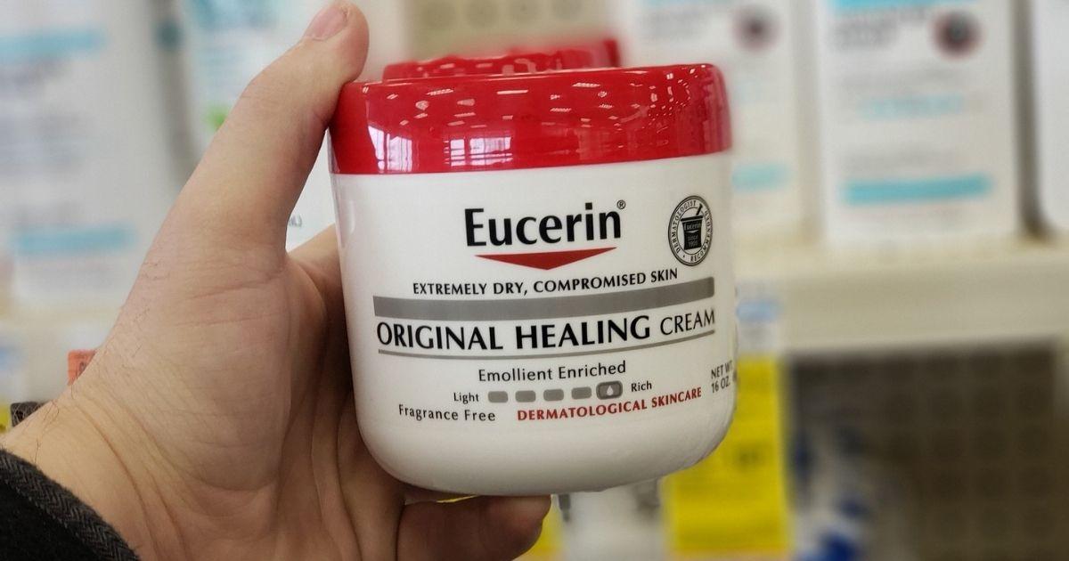 hand holding Eucerin Original Healing Cream