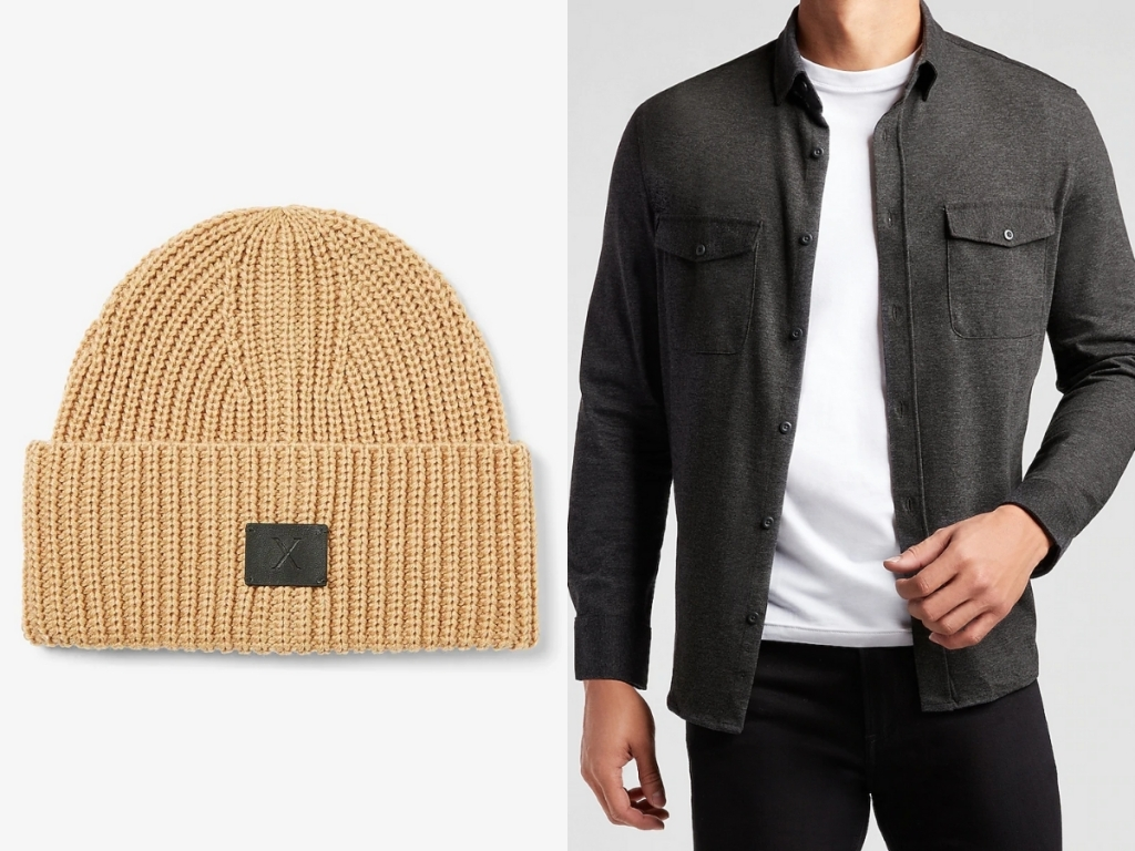 express men's brown beanie and gray solid button down shirt
