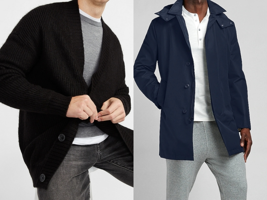 express men's cardigan and blue water resistant jacket