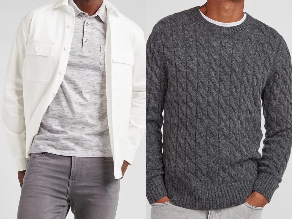 express men's white shirt jacket and gray cable knit sweater
