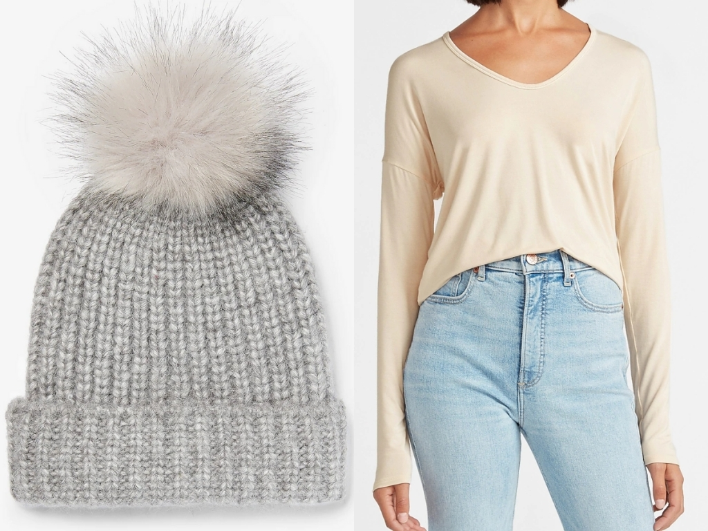 express women's gray beanie with pom and white soft v neck long sleeved
