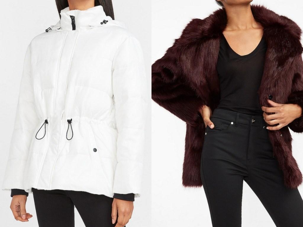 express women's cinched coat and cozy fur coat
