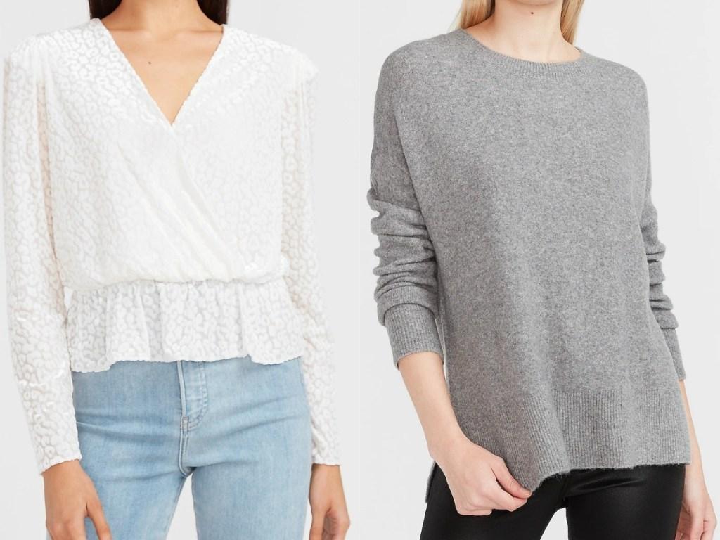 express women's velvet top and gray sweater