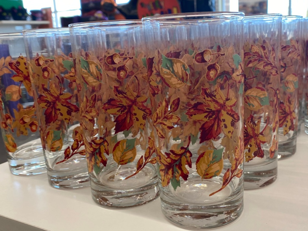 Fall Leaves Glass Cups