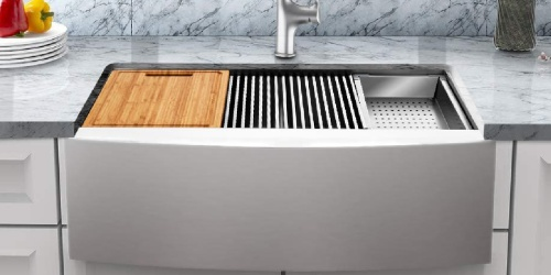 $100 Off Stainless Steel Farmhouse Sink w/ Faucet AND Accessories at Home Depot