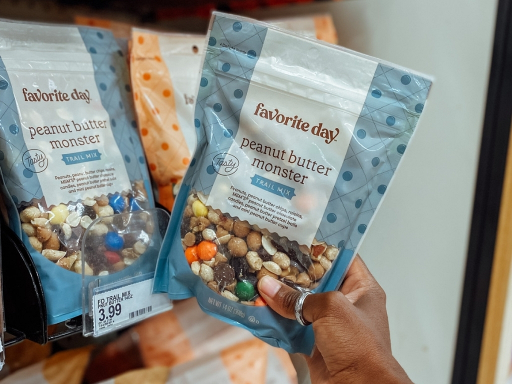 hand holding favorite day peanut butter monster trail mix
