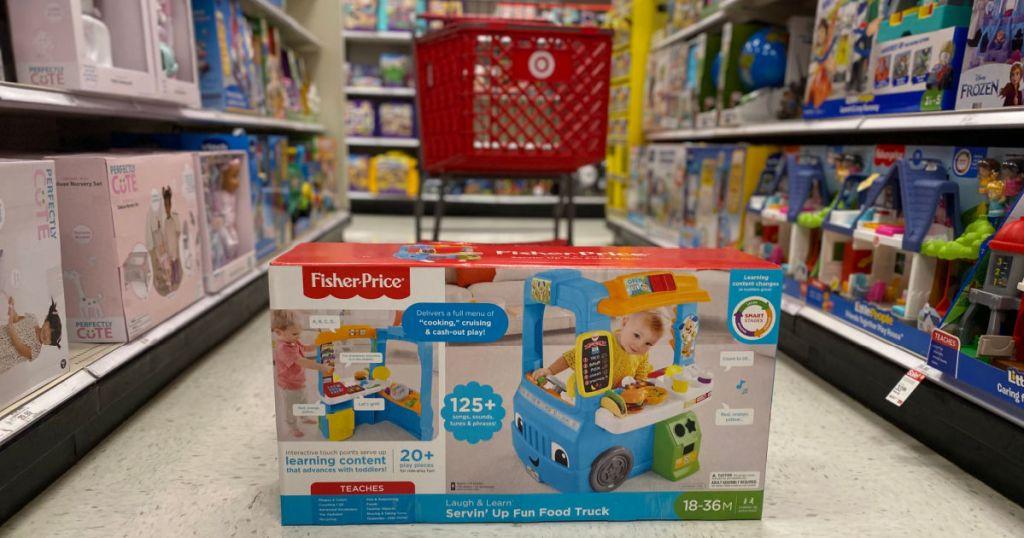 toy food truck play set on floor