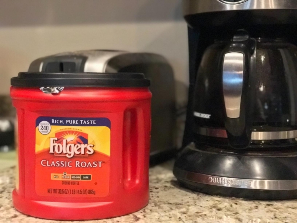 folger's classic roast coffee canister with coffee pot