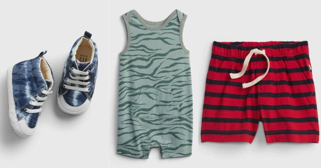 GAP sneakers, romper and shorts
