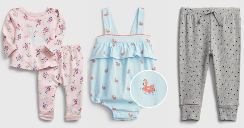 GAP baby girls outfit, romper and pants
