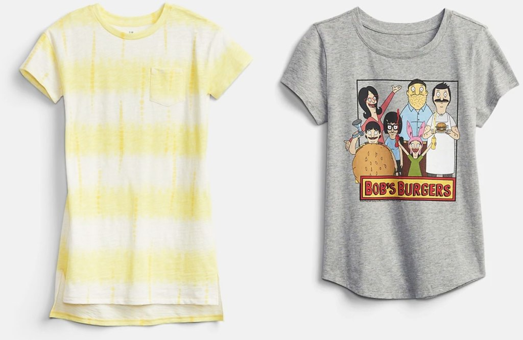 yellow striped dress and bob's burgers graphic tee