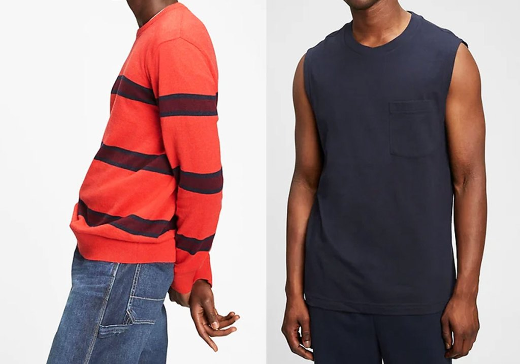 striped red sweater and men's muscle tank