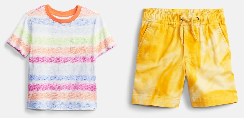 striped boys tee and yellow shorts