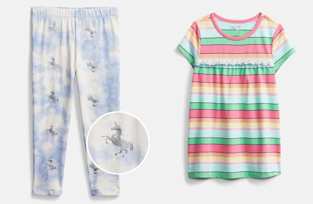 girls unicorn leggings and stripped shirt