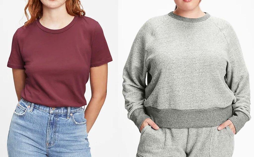 two women in maroon top and grey sweatshirt