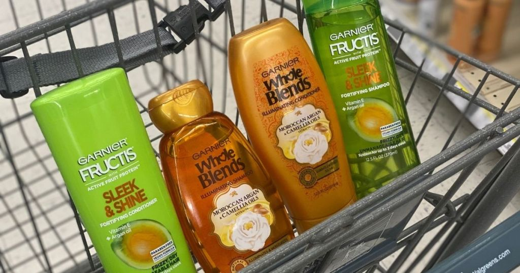 cart with four Garnier haircare products in it